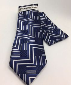 Stacy Adams Tie & Hanky Set Navy & White Men's 100% Microfiber New #StacyAdams #TieHankySet