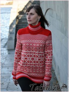 """Купить Мериносовый свитер """"Норвежский"""" - комбинированный, орнамент, свитер, свитер вязаный, свитер женский"""