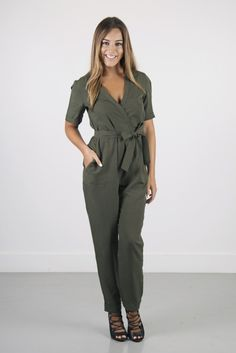 fae992399c0 Trooper Tencel Jumpsuit in Olive Night by French Connection You know we  love our jumpsuits! They are one of the biggest players this fall.