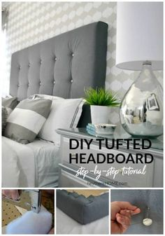 DIY headboard with crystal buttons - Design by King tufted headboard with crystal buttons in 4 stepsHow do I create a fabric headboard on a budget? Home ideasLearn how to incorporate a fabric headboard Tufting Diy, Diy Tufted Headboard, How To Make Headboard, Diy Headboards, Headboard Ideas, Headboard Frame, Making A Headboard, Bookshelf Headboard, Bookshelf Diy