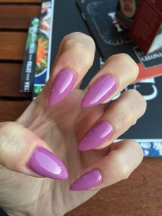 March nails. Acrylic stilettos purple