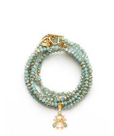 Spartina 449 wrap charm bracelet/necklace in seafoam