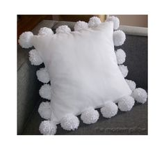 """Living room for vday.  White Pom Pom Decorative Throw Pillow Cover / Pillow Case / Cushion Cover / Cotton / 20x20"""" by TheModernPillow on Etsy https://www.etsy.com/listing/222017726/white-pom-pom-decorative-throw-pillow"""
