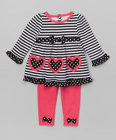 Look what I found on #zulily! Black Heart Ruffle Tunic & Leggings - Infant & Toddler #zulilyfinds