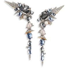 Alexis Bittar Crystal-Encrusted Mosaic Lace Dangling Clip-On Earrings ($415) ❤ liked on Polyvore featuring jewelry, earrings, apparel & accessories, silver, dangle earrings, swarovski crystal earrings, dangling jewelry, swarovski crystal jewelry and alexis bittar earrings