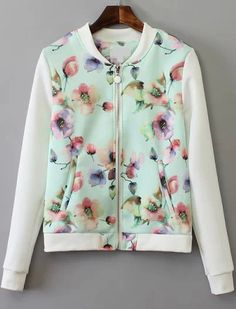 Light Green Stand Collar Floral Pockets Jacket 27.50