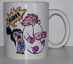 FLUFFY UNICORN  The design is first drawn and painted by hand , using high end scanning equipment its later trasnformed in to digital form  Looks 100% like the original drawing ,no effects with computer eqiupment added  Perfect present for girls of all ages  Melting hearts guaranteed :D  -We use only Premium quality mugs -Microwawe and disgwasher proof -They dont peel , crack or wash away -Size of the mug is 11 Oz -Will be shipped safe to prevent damage -The heart is on both sides of the mug…