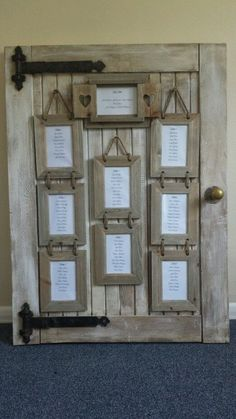 Rustic door Wedding Table Plan - very cool idea!