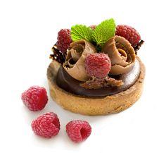 chocolate dessert with rasberries