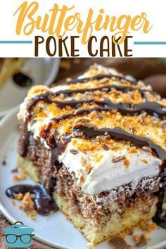 Poke Cake Recipes, Poke Cakes, Dessert Recipes, Layer Cakes, Party Recipes, Mini Cakes, Cupcake Cakes, Cupcakes, Butterfinger Cake