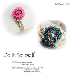 ***Following this Step-by-Step instructions you will be able to make your personalized bracelet*** The tutorial is six A4 pages with instructions and 12 illustrations. You will need for the bracelet: seed beads (15/0, 11/0, 8/0, 6/0), delica beads (11/0), super duo beads, triangle beads, rivoli 12mm and box clasp (10mm). Techniques: Right-Angle Weave, Peyote Stitch, The documents include: - list of materials (without code number of beads, but if you need I can send t...