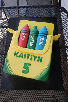 Crayon box shaped birthday cake