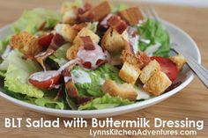 Gluten Free  BLT SALAD {BACON, LETTUCE, AND TOMATO SALAD WITH BUTTERMILK DRESSING}