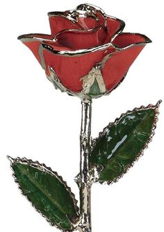 Red Laquered Platinum Dipped Long Stem Genuine Rose In Red Gift Box *** You can find out more details at the link of the image.