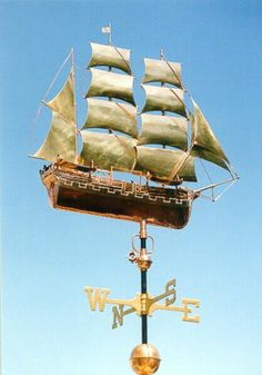Charles Morgan Whaling Ship Sailboat Weather Vane by West Coast Weather Vanes.  This handcrafted Whaling Ship weathervane can be customized by using a variety of metals and optional gold or palladium leafing.