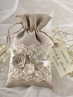 Rustic Wedding Favor Bag  Lace Wedding Favor Bag by 4LOVEPolkaDots, $2.50