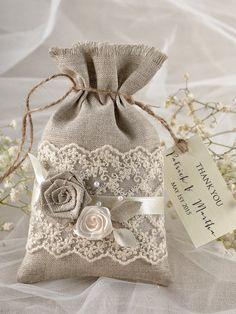 Rustic Wedding Favor Bag  Lace Wedding Favor Bag by 4LOVEPolkaDots, $2.50