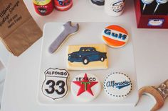 Cool cookies at a vintage car birthday party! See more party planning ideas at CatchMyParty.com!