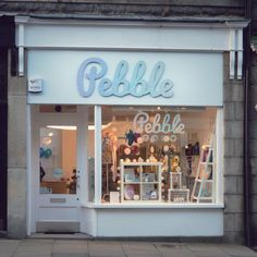 Perfectly pastel Pebble gift shop in Aberdeen. What a cute shop front with a really fresh window display.