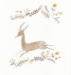 Running Deer - by Julianna Swaney -- (Christmas, holiday, reindeer, deer-io) Art Mignon, Art Et Illustration, Woodland Creatures, Art Design, Oeuvre D'art, Cute Art, Illustrations Posters, Folk Art, Artsy