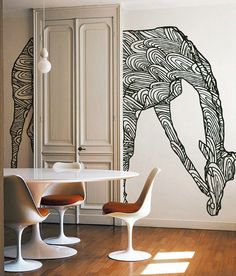 Playful wall mural, very creative! More good feng shui wall murals http://fengshui.about.com/od/fengshuicures/tp/feng_shui_wall_decor.htm Brings movement to an otherwise static space. Clean, sweet and creative!