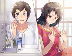 Kimi no Na wa (Your Name) Kimi No Na Wa, Otaku Anime, Manga Anime, Anime Art, She And Her Cat, Mitsuha And Taki, Kokoro Connect, The Garden Of Words, Your Name Anime