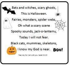 """I made this little poem this morning for a craft for the kids.  I've cut out all sorts of stuff for them to make their own spooky little monster to go with the poem.  This will go along nicely with our """"do not fear"""" theme for Halloween."""