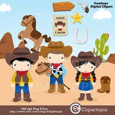 Cowboys digital clipart / Little Cowboys Clip art / Wild West Clipart for personal and Commercial Us Cowboy Birthday Party, Cowboy Party, Cowboy Theme, Cowboy And Cowgirl, Western Theme, Art Clipart, Scrap, Owl, Little Cowboy