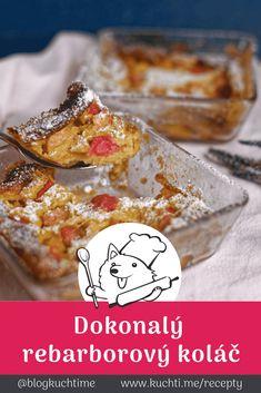 Rebarborový koláč s lehkou karamelovou krustou, který si zamilujete. Rebarbora je taková podezřelá kyselá záležitost. Přidejte ji ale zkaramelizovanou do dokonalého těsta a rebarborový koláč snů je na světě :)   @blogkuchtime   #recepty #jidlo #inspirace #vareni #kucharka #foodblog Cereal, Muffin, Food And Drink, Sweets, Baking, Breakfast, Cake, Breads, Morning Coffee