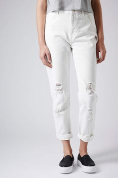 MOTO Ripped White Mom Jeans - View All Sale - Sale & Offers - Topshop Europe