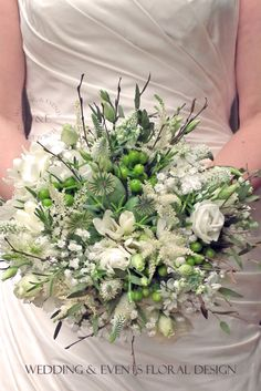 Beautiful Rustic Bouquet created from Poppies, Lisianthus, Astilbe and Twigs by Wedding & Events Floral Design www.weddingandevents.co.uk