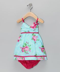 Blue Rose Dress & Diaper Cover - Infant #zulily #fall