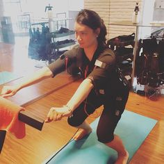ms. @meilydp exercising with our MIHA Bodytec. she feel excited during the exercise and feeling great afterward!