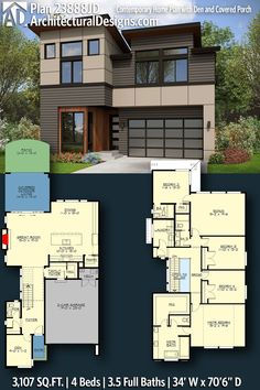 House Plan 23888JD gives you 3100 square feet of living space with 4 bedrooms and 3.5 baths. AD House Plan #23888JD #adhouseplans #architecturaldesigns #houseplans #homeplans #floorplans #homeplan #floorplan #houseplan Contemporary House Plans, Modern House Plans, Thinking Outside The Box, Living Spaces, Floor Plans, How To Plan, Modern Home Plans, Floor Plan Drawing, House Floor Plans