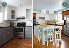Eye Candy: Beautiful Two-Tone Kitchen Cabinets ~ Sam Best Food Recipes and Kitchen Design Ideas Cream Colored Kitchen Cabinets, Two Tone Kitchen Cabinets, Green Cabinets, Kitchen Cabinet Colors, Painting Kitchen Cabinets, Kitchen Colors, Plywood Cabinets, Built In Cabinets, Upper Cabinets