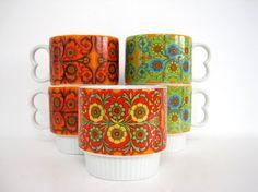 Vintage Ceramic Coffee Mug Set Tea Cup Mugs by BrooklynStVintage