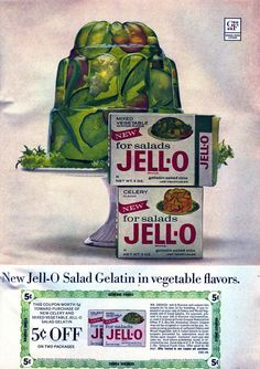 Jell-O Salad Gelatin: Would you eat jello in celery & mixed vegetable flavors? Retro Advertising, Retro Ads, Vintage Advertisements, Vintage Ads, Vintage Food, Vintage Stuff, Vintage Signs, Retro Recipes, Old Recipes