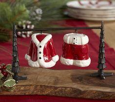 Santa Suit Salt & Pepper Shakers   Pottery Barn