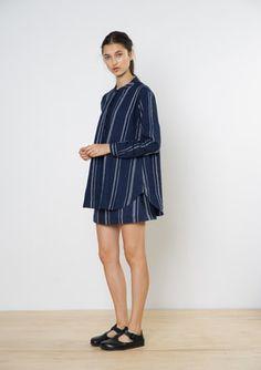 Twenty-Seven Names - Leningrad Shirt - Navy Stripe Navy Stripes, The Twenties, Marc Jacobs, Branding Design, High Neck Dress, Names, Casual, Shirts, Shopping