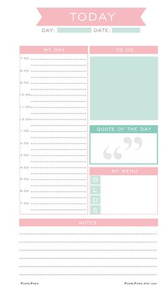 Daily Planner Insert Printable, Personal | PastelParis