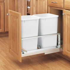 Rev-A-Shelf - - Double 27 Qt. Pull-Out Brushed Aluminum And White Waste Container White/silver Shelves, Kitchen Base Cabinets, A Shelf, Cabinet Organization, Rev A Shelf, Kitchen Storage Organization, Kitchen Organization, Base Cabinets, Waste Container