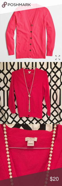 J.crew Cardigan Like new, pink rosé cotton-wool Cardigan. Adorable with the perfect buttons. This cardigan is a perfect addition to any closet and a true investment piece. In great condition, only flaw is slight fuzzies/pilling. J. Crew Sweaters Cardigans