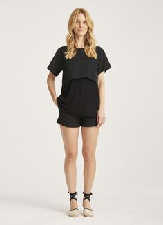 The Mixed Media Nursing Tee Nursing Wear, Nursing Tops, Pregnant And Breastfeeding, Get Dressed, Mixed Media, Rompers, Stylish, Tees, How To Wear