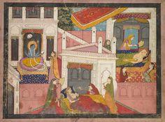 Scenes from the Birth of Krishna, c. 1840 India, Pahari, Kangra, 19th century