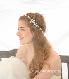 Wedding Hair Vintage Rhinestone bow and Ivory Pearl Hair Vine Bridal Headpiece, Wedding Headband Pearl Hair Vine, Pearl Bridal Tiara