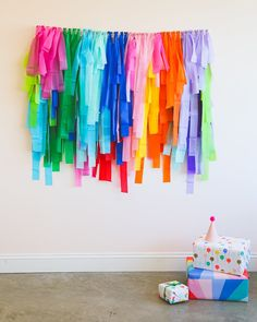 DIY Fringe Backdrop Kit – Shop Sweet Lulu Diy Birthday Backdrop, Diy Backdrop, Fiesta Decorations, Balloon Decorations, Colorful Centerpieces, Birthday Traditions, Glow Party, Diy Ribbon, Backdrops For Parties