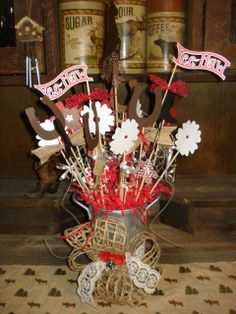 western party centerpieces ideas | Western Cowboy table centerpieces | Stampin in the Tetons