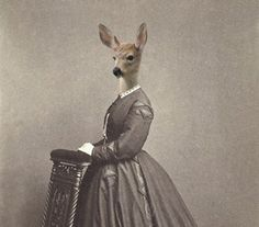 Charlotte - Vintage Deer 5x7 Print - Anthropomorphic - Altered Photo - Gift Idea - Photo Collage - Sepia - Whimsical Art - Unusual Gift Ide