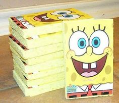 Spongebob Birthday Invitations made from sponges