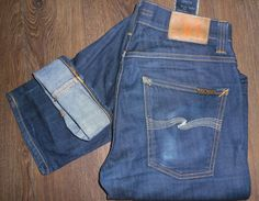 Nudie Jeans (Men's Pre-owned Slim Jim Organic Dry Ecru Embo Designer Dark Denim Slim Jean Pants)